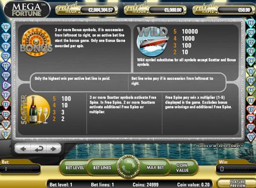 Ilmaiset kierrokset peliautomaatista Mega Fortune