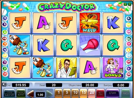 Crazy Doctor pelaa peliautomaattia verkossa rahaksi