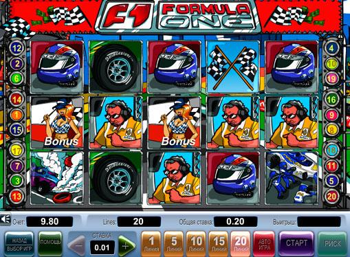 Formula 1 pelaa peliautomaattia verkossa rahaksi