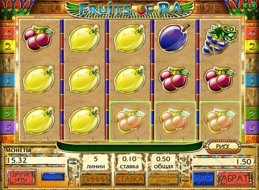 Línea ganadora de slot Fruits of Ra