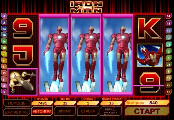 Hedelmäpelin kelat Iron Man