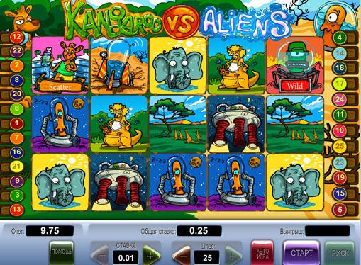 Kangaroo vs Aliens pelaa peliautomaattia verkossa rahaksi