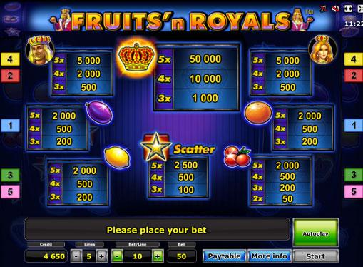 Merkit hedelmäpeli Fruits'n Royals Deluxe